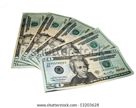 Greenbacks is Five US Twenty Dollar Bills in a fanned out arrangement isolated on a white background - stock photo