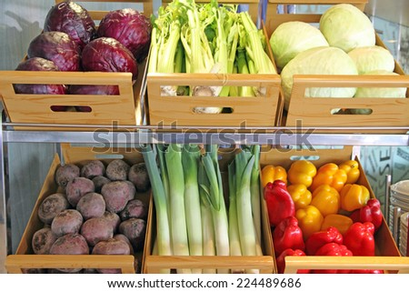 Greengrocers boxes of vegetables Spain - stock photo