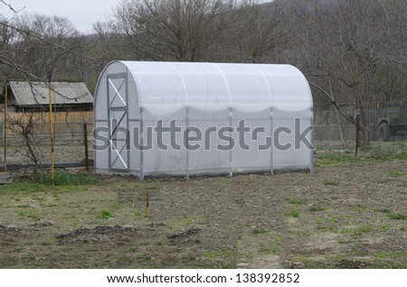 greenhouse for growing vegetables and sprouts - stock photo