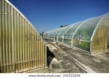 Greenhouse under sky - stock photo