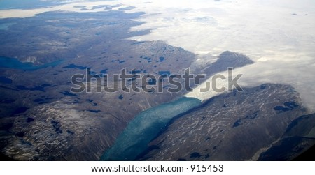 Greenland Aerial View - stock photo