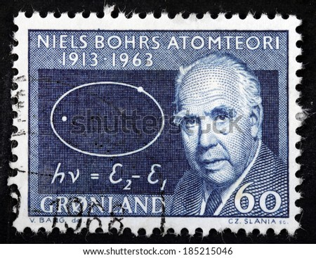 GREENLAND - CIRCA 1963: A stamp printed by GREENLAND shows image portrait of famous Danish physicist Niels Henrik David Bohr. He received the Nobel Prize in Physics, circa 1963 - stock photo