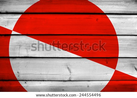 Greenland Flag on wood background