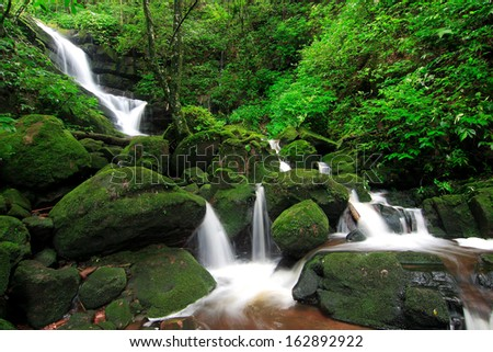 Greenness waterfall of Phu soi dao, Uttaradit, Thailand.