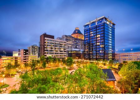 Greensboro, North Carolina, USA downtown city skyline. - stock photo