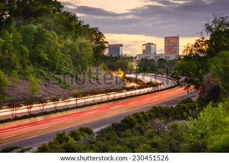 Greenville, South Carolina cityscape over Interstate 385. - stock photo