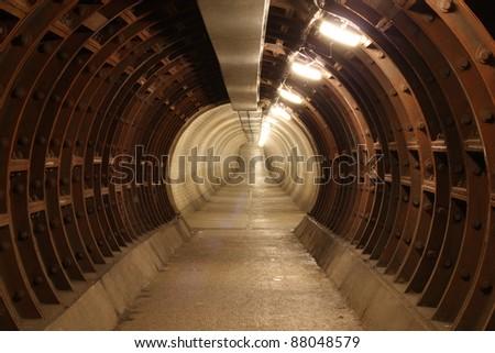 greenwich foot tunnel, london. - stock photo