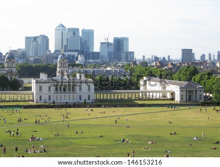 Greenwich Park and Buildings.    - stock photo