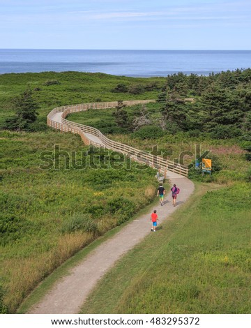 GREENWICH, PRINCE EDWARD ISLAND August 16th: Pathway to the beach at Prince Edward Island National Park Greenwich dunes in Greenwich, PEI on August 16th, 2016