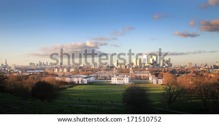 Greenwich view and Canary Wharf on the back London - stock photo