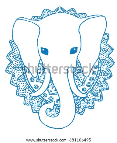 Greeting Beautiful Card Elephant Frame Animals Stock Illustration ...