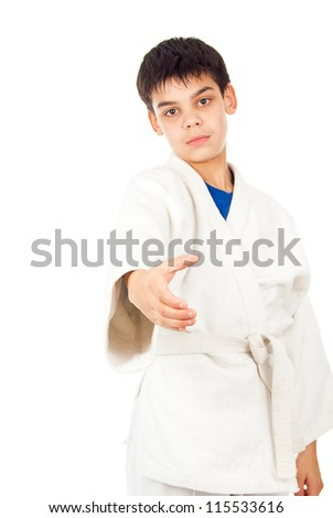 greeting boy in class taekwondo - stock photo