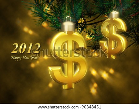 Greeting business card with the New Year. Golden Christmas decorations in the form of a dollar sign symbolizes success and financial prosperity in the new year. - stock photo