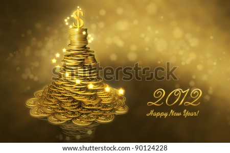 Greeting business card with the New Year 2012. Mound of gold coins as a Christmas tree decorated with lights and a dollar sign on the top - stock photo