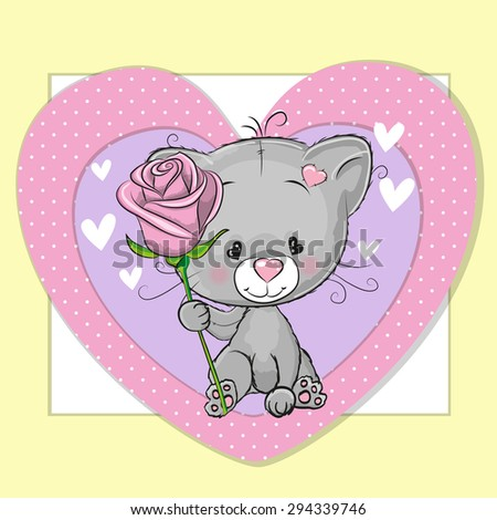 Greeting card Cute Cat and a flower