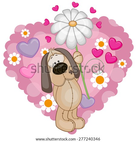 Greeting card Dog with hearts and flower