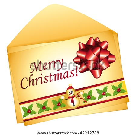 Greeting card for christmas. Isolated easy to edit. - stock photo