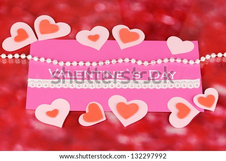 Greeting card for Valentine's Day on red background - stock photo