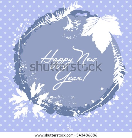 Greeting card happy New Year. Frame for the inscription a wreath of leaves on a background with polka dots - stock photo