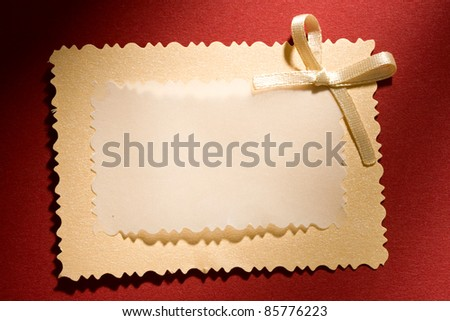 Greeting card isolated on the red background - stock photo