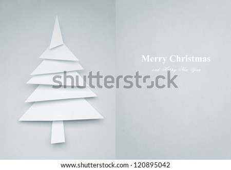 Greeting Card of christmas tree made of paper for your design - stock photo