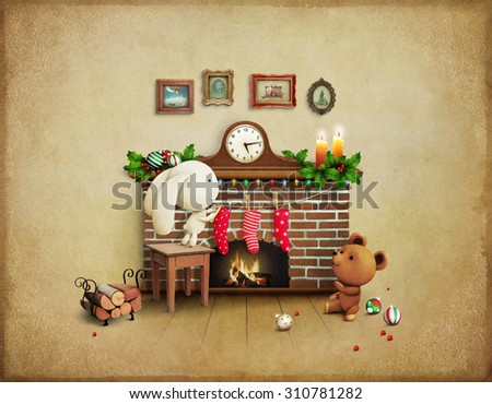 Greeting card or poster Christmas Adventure Bear and Bunny.  - stock photo