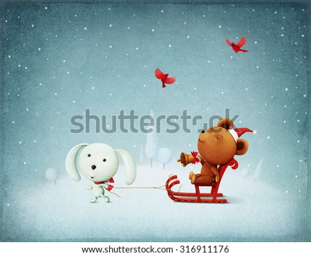 Greeting card or poster Christmas Adventure Bear and Bunny - stock photo