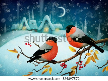 Greeting card or poster Merry Christmas and  Happy New Year with  night winter landscape and Bullfinch on  branch - stock photo