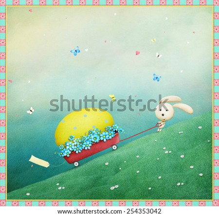 Greeting card or poster with Easter eggs and rabbit cartoon - stock photo