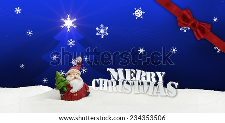 greeting card santa clause snow blue - merry christmas