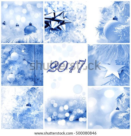 greeting card 2017 square format about winter and christmas decoration theme