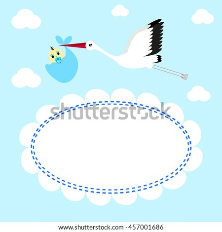 Greeting card Stork delivers baby boy on a background of clouds and sky - stock photo