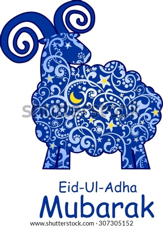Greeting card template for Muslim Community Festival of sacrifice Eid-Ul-Adha with sheep  - stock photo