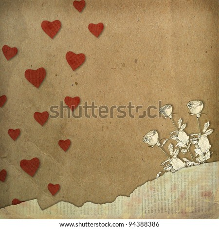 Greeting Card to St. Valentine's Day with hearts and roses - stock photo