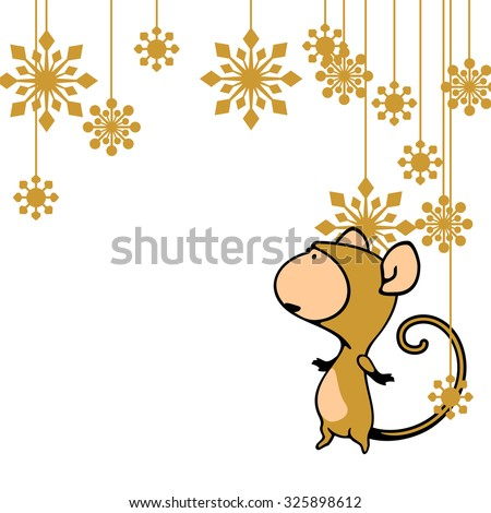 Greeting card with a Monkey looking at holiday decoration (raster version) - stock photo