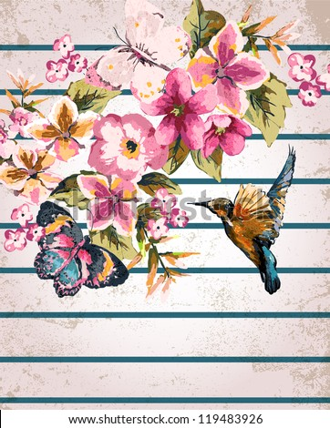 greeting card with bird and floral on stripe background - stock photo