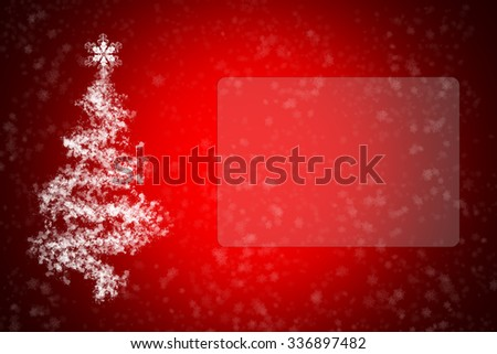 Greeting card with Christmas and New Year with fir tree and snow - stock photo