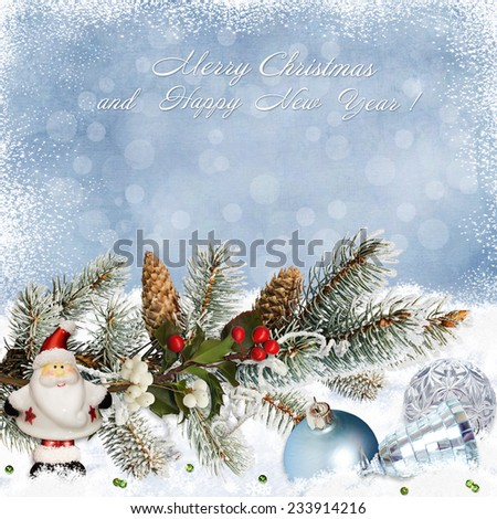 Greeting card with Christmas decorations and pine branches