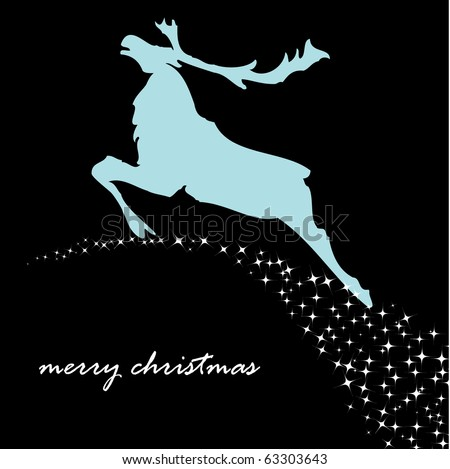 Greeting card with christmas reindeer. Jpeg version - stock photo