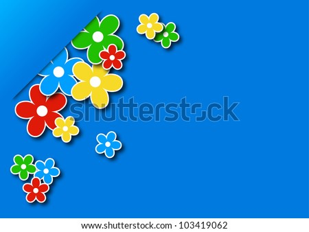 greeting card with colored flowers on a blue background
