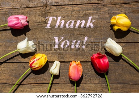 Greeting card with colorful Tulips on wooden table with words Thank you - stock photo