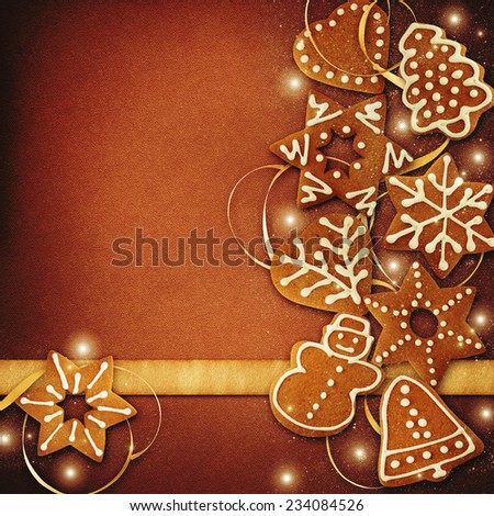 Greeting card with gingerbread cookies.