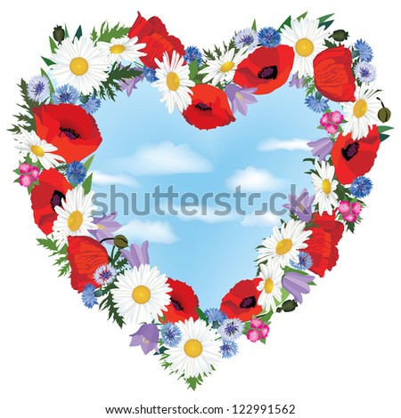 Greeting card with heart and meadow flowers poppies, chamomiles, cornflowers, bluebells in girlish style