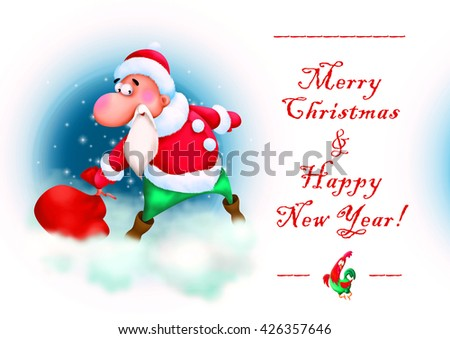 Greeting card with illustration of Santa Claus, Merry Cristmas and New year - stock photo