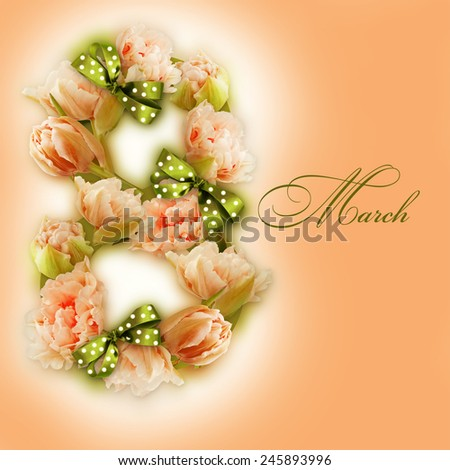 Greeting card with March 8. International Women's Day.  - stock photo