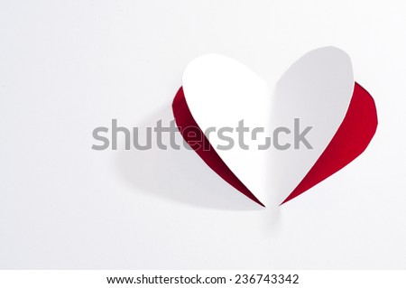 Greeting card with paper heart - stock photo