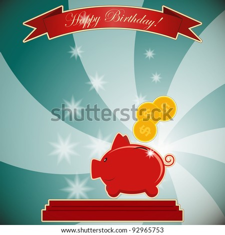 greeting card with piggy bank - JPEG version - stock photo