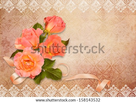 Greeting card with roses  - stock photo