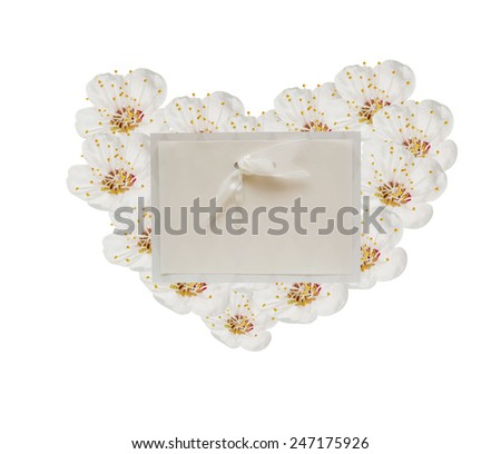 greeting card with spring flowers in the shape of heart, valentine's day. - stock photo