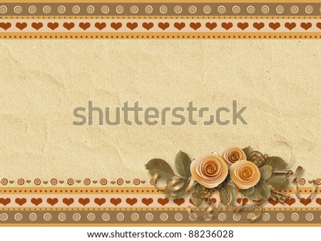 Greeting cards with roses - stock photo